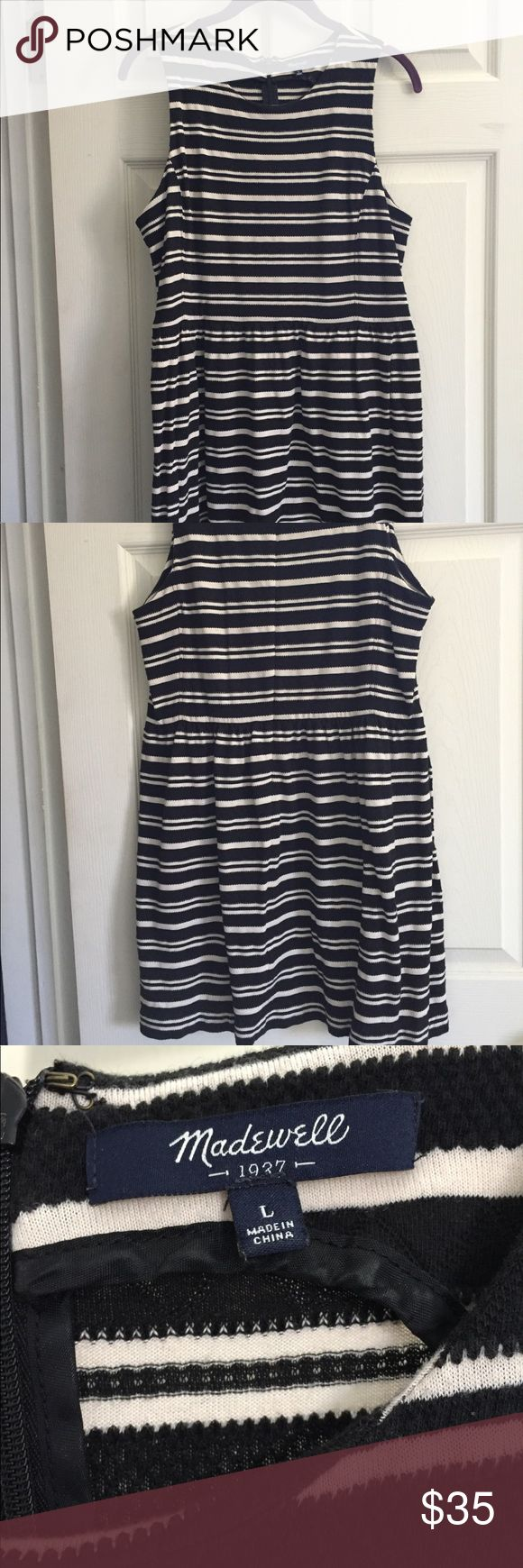 Madewell Striped Dress Black and Cream colored striped short dress in great condition. Madewell Dresses