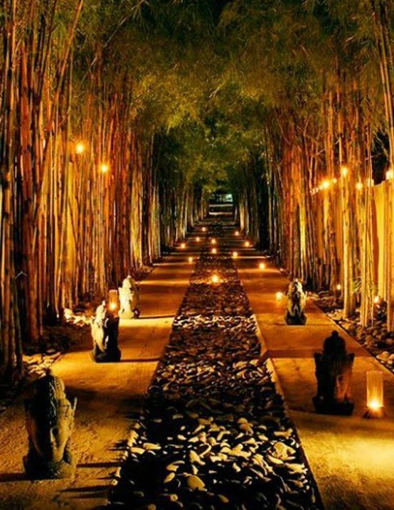 glowing bamboo and floating lights along a stone path with monkey statues…