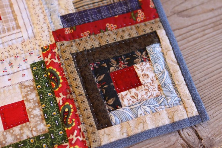 Miniature Scrappy Log Cabin Quilt By Http
