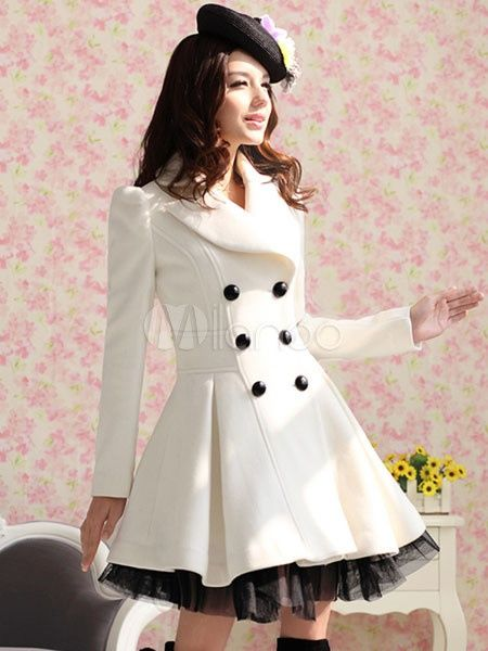 Women's #Fashion Clothing: Coats, Jackets, and Blazers: #White Turndown Collar Long Sleeves Buttons Two-Tone #Coat for Woman: Clothes