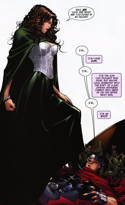 Wanda Maximoff and her son Wiccan (my favorite Wanda outfit).  Avengers: The Children's Crusade.