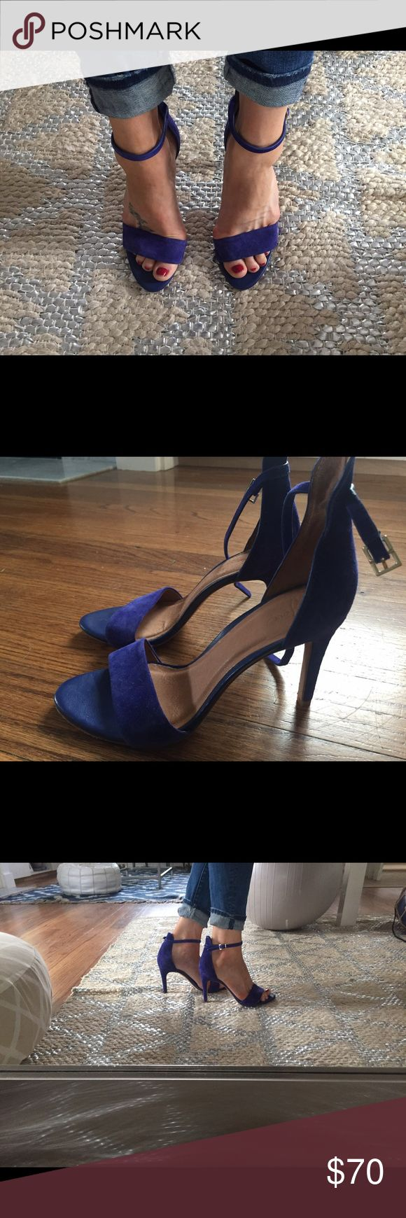 Joie shoes Joie strappt stilettos. Color is purple/cobalt. Suede. Barely worn.  I have these shoes in many colors and love the style. joie Shoes Heels