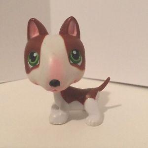 Littlest Pet Shop LPS 154 Brown White Bull Terrier Dog Green Eyes 100 Authenti | eBay