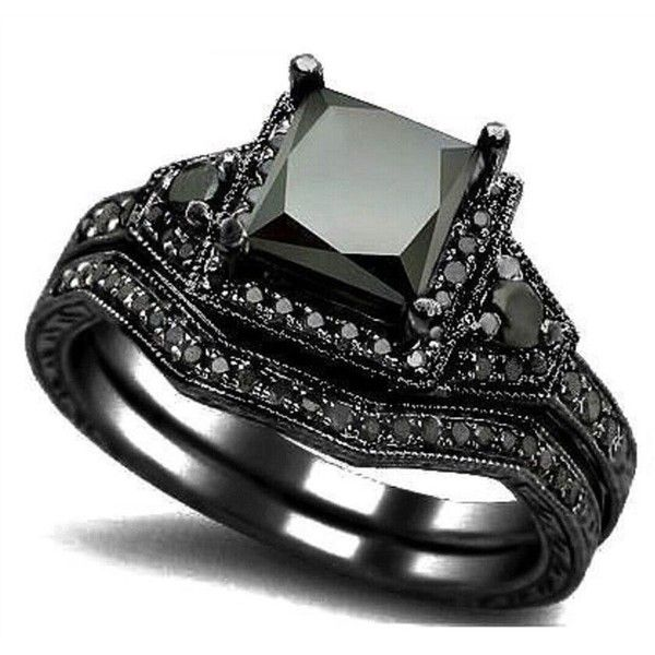 JIAwelry Women's Black Rhodium Plated Black Cubic Zirconium Ring ($32) ❤ liked on Polyvore