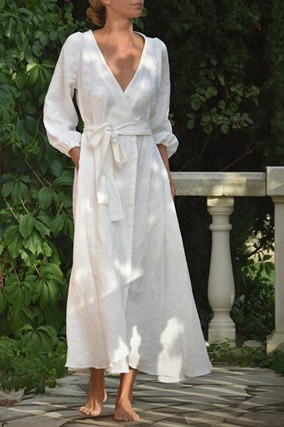 Anaïs Leinen Wickelkleid in Weiß (Vorbestellung …