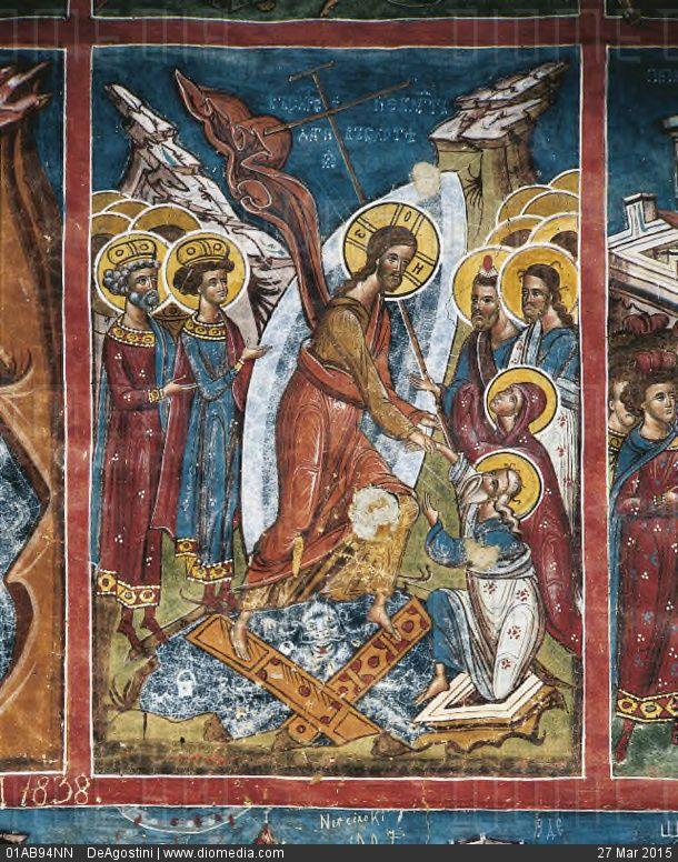 Romania - Moldavia - 16th century. Moldovita Monastery. The Transfiguration of Jesus on mount Tabor (1537). Fresco - stock photo