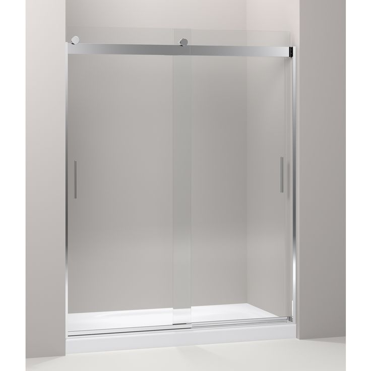 Shop KOHLER Levity 24.25-in to 27.25-in W x 74-in H Bright Polished Silver Sliding Shower Door at Lowes.com