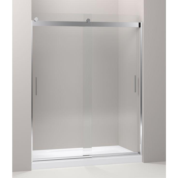 kohler levity 31in to 31in w x 74in h bright polished silver sliding shower door r706112lshp