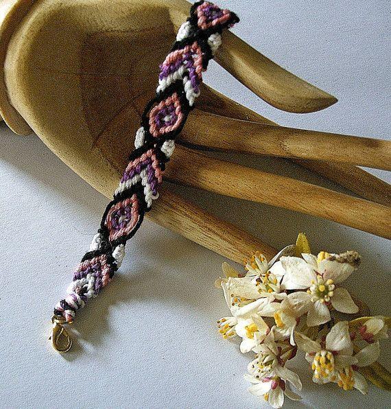 SALE Tribal bracelet Pink and black by EgyptianInspirations, $13.49: Black White Pink, Bracelet Measures, Black Friendship