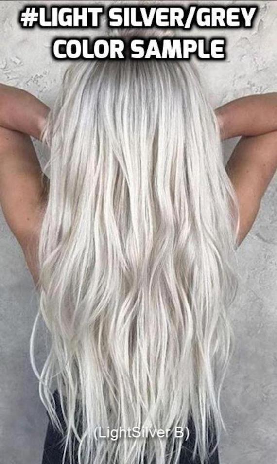 100 Human Hair Halo Lightsilver White Silver Gray Icy Blonde Flip
