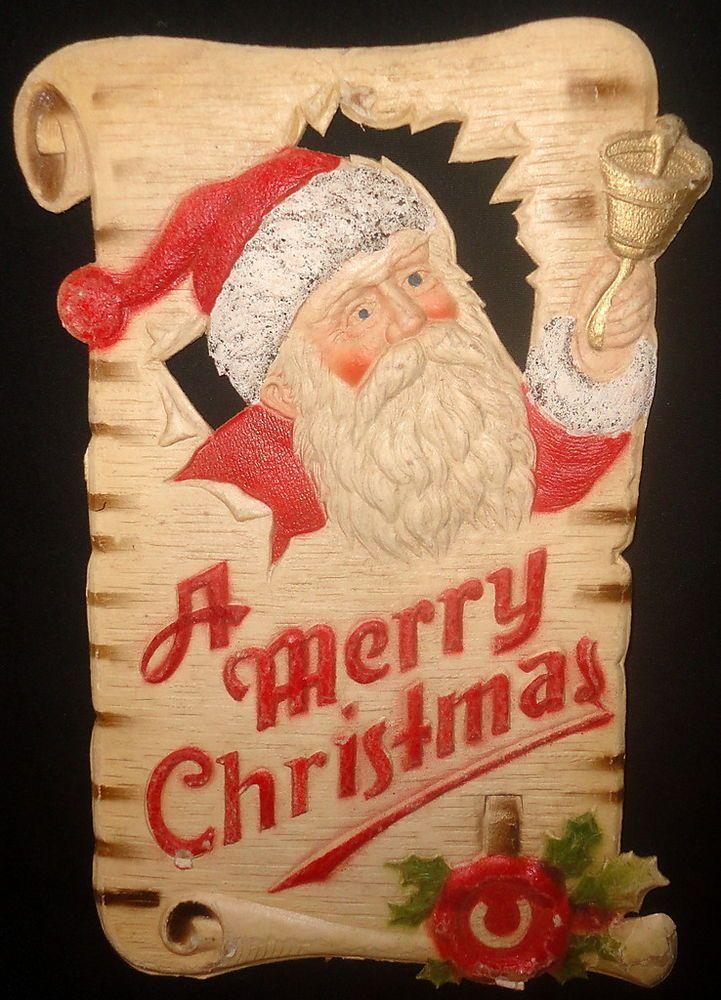 Vintage Die Cut German Santa Paper Mache Wall Hanging