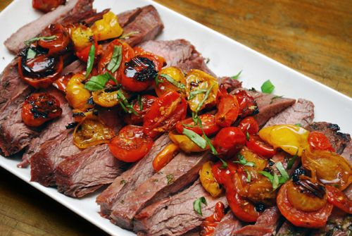 Italian Flank Steak with Roasted Tomatoes by familyspice #Beef #Flank_Steak #Tomatoes