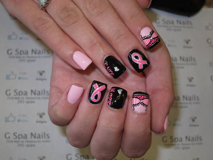 182 best nails designs images on pinterest nail design breast breast cancer nails pink nails bra nails nail designs nail art prinsesfo Images
