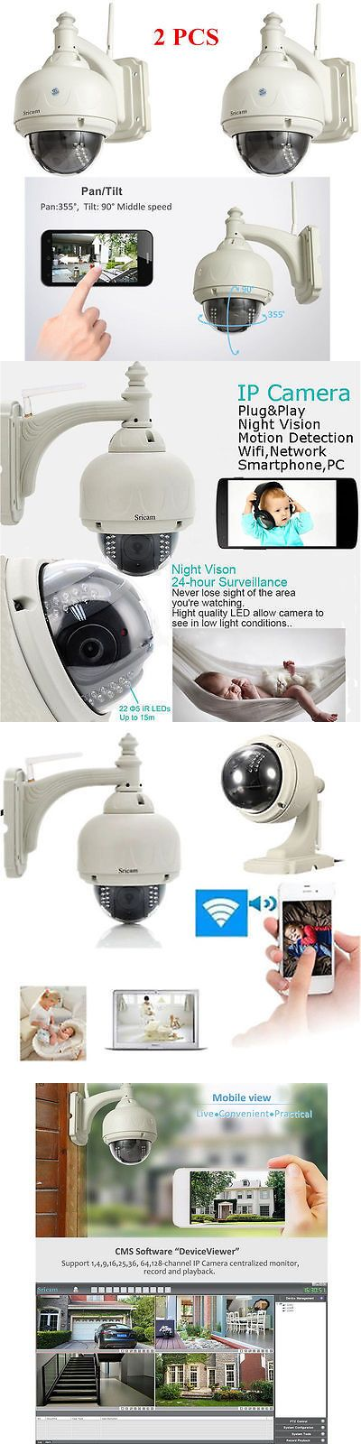 Security Cameras: 2Pcs Wireless Ip Camera Pt Dome Ir Night Vision Wifi Ir-Cut Outdoor Security Cam -> BUY IT NOW ONLY: $118.95 on eBay!