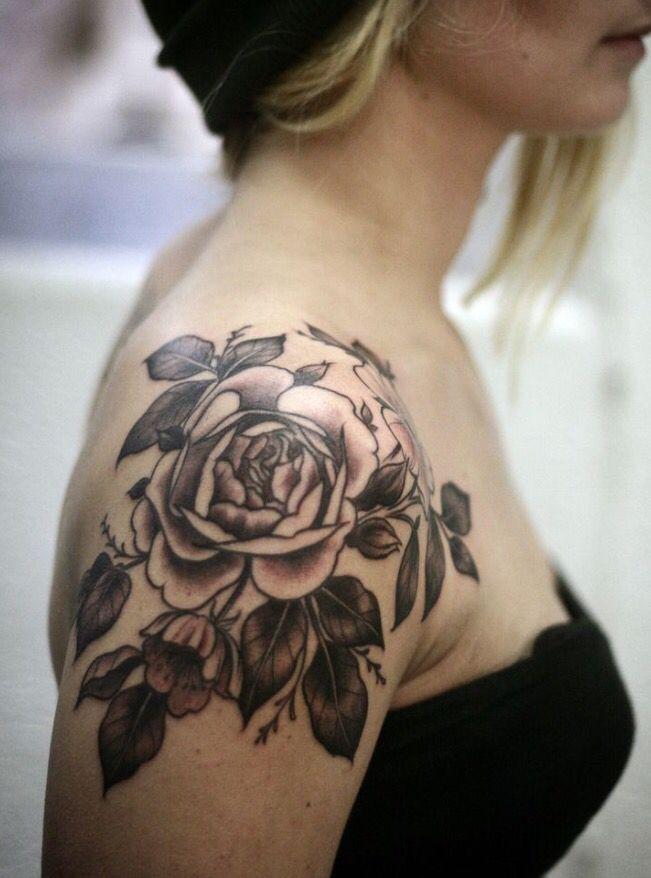 shoulder rose tattoos pinterest