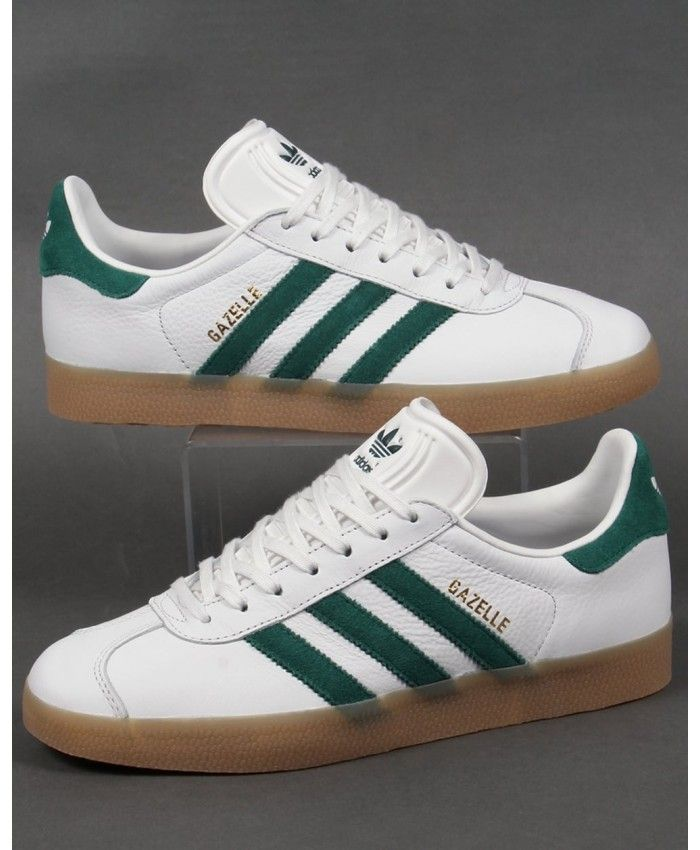 first rate new cheap large discount Adidas Gazelle Leather Trainers in White Green Gum Trainer ...