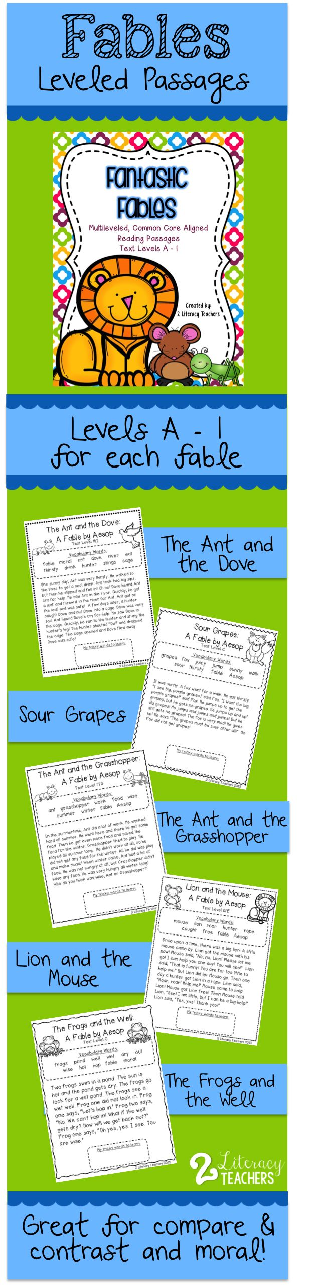 Fables leveled passages! Each fable has 6 different levels. Perfect for differentiation! Use for guided reading, whole group, partner work, individual work or homework. Great for comparing and contrasting and identifying moral. Fables included are The Ant and the Grasshopper, The Ant and the Dove, The Frogs and the Well, Lion and the Mouse and Sour Grapes.