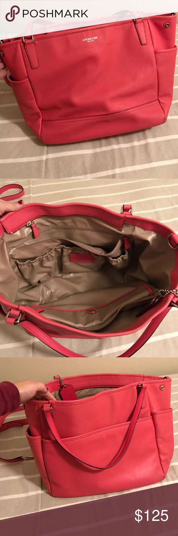 Coach diaper bag Coral coach diaper bag with shoulder and cross body straps Coach Bags Baby Bags