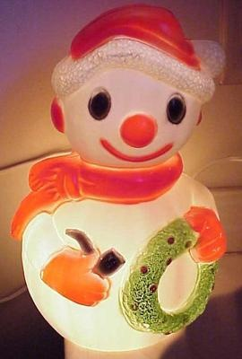 Vintage Christmas Snowman With Wreath Blow Mold Light Up