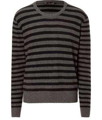 Dear Cashmere, Black/Grey Striped Cashmere Pullover, USD 255.00 on Set That -