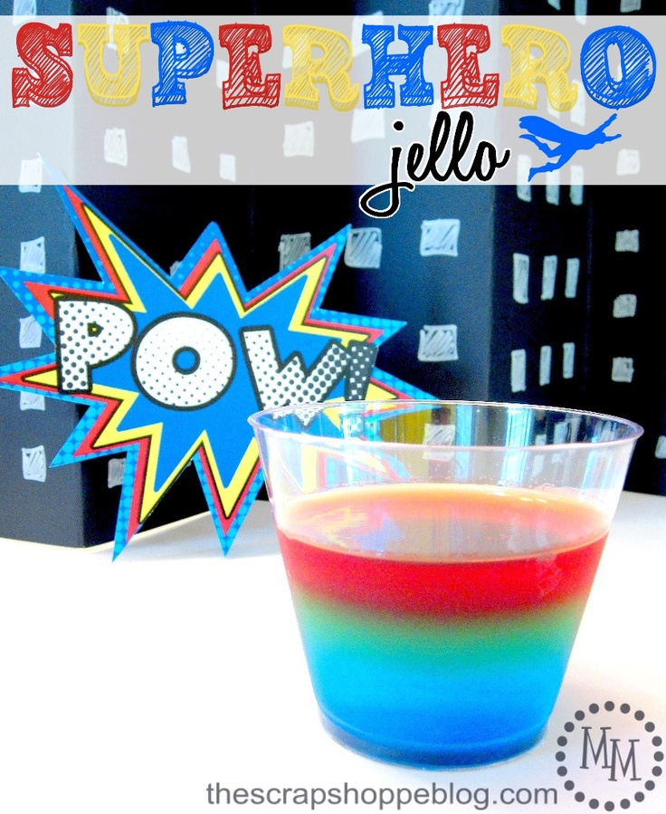 Superhero Jello! Easy snack with a lot of visual impact. Great for superhero parties!