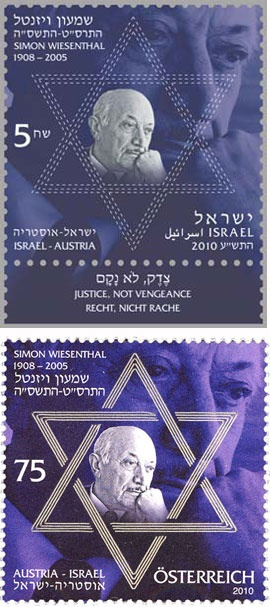 """Israel - Austria, 2010. Joint issue stamp honoring Simon Wiesenthal.  """"Justice, Not Vengeance."""" Wiesenthal KBE (1908-2005), was an Austrian writer and Nazi hunter. He was a Jewish Austrian Holocaust survivor who became famous after World War II for his work as a Nazi hunter. In 2010 the Austrian and Israeli governments jointly issued a commemorative stamp honouring Wiesenthal. He himself had been a lifelong stamp collector."""