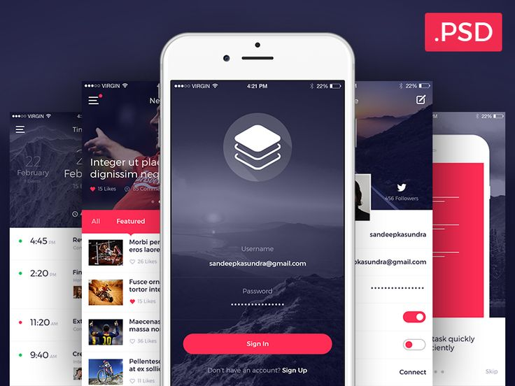 Unique free UI PSDs & resources for Designers - Uix One: Clean & Modern iOS UI Kit Free PSD
