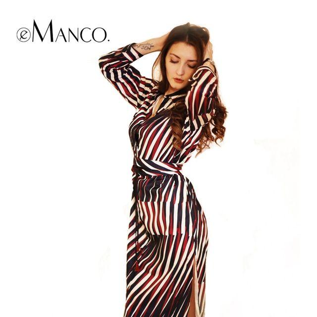 EManco Модные Полосатые Свободные Длинные Vestido для Женщин Многоцветный Колен Богемия Стиль Дамы Платье Повседневная Одежда