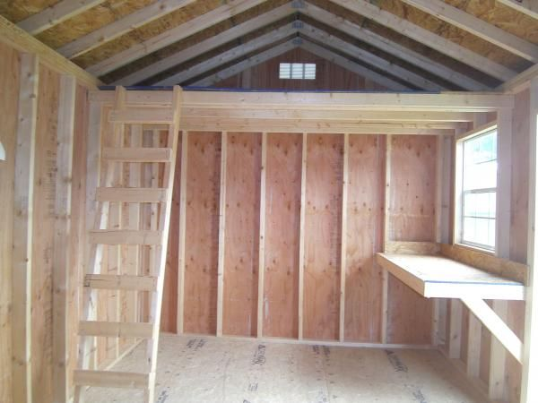 10x16 shed - would love a small loft for extra storage...make a desk go along the wall under the loft (u shape)...that way a window will be above desk area for extra light