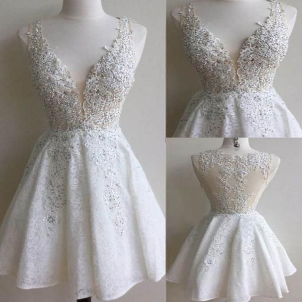 2016 popular white lace see through gorgeous freshman cute homecoming prom gowns dress The white lace  homecoming dresses are fully lined, 8 bones in the bodice, chest pad in the bust, lace up back or zipper back are all available, total 126 colors are available  This dress could be custom made, there are no extra cost to do custom size and color.  Description  1, Material: lace, tulle, appliques.  2, Color: picture color or other colors, there are 126 colors are available, please contact us…