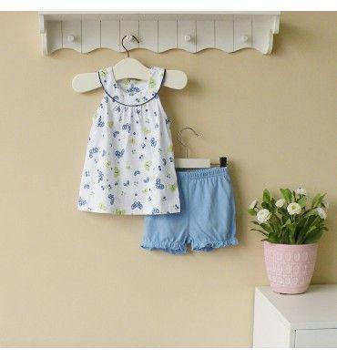 Mom and Bab Knitted Set - Blue Butterfly - sadinashop.com  Baju setelan (gaun pendek dan celana pendek) untuk bayi dan anak perempuan.
