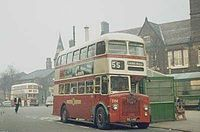 St Helens, Merseyside - Wikipedia, the free encyclopedia  A St Helens Corporation liveried bus in 1968, in front of the Town Hall