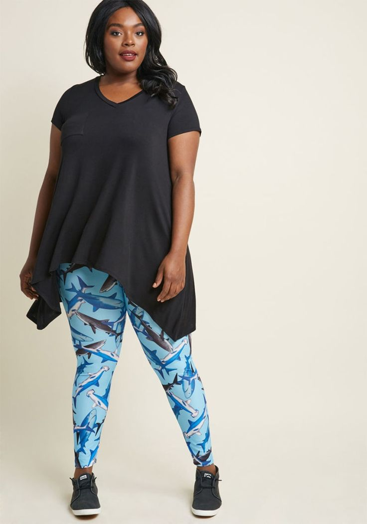 """Rating: 4.6/5 Sizes: XS–4X Available in four prints (two galaxy prints and one math equation print).Get them from ModCloth for $24.99.Promising review: """"Leggings are scary. Nine times out of ten, they don't fit over my bum, or my thighs, or my ankles. Being a chubby lady, I had almost given up on finding quality leggings. But these are amazing!!! Super comfy, not see-through, well fitting, and super vibrant! I could go on and on."""" —MayoroftheShire"""