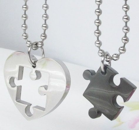 Matching necklaces - Silver/Black with 50cm ball chain for each pendant - Brad's Little Aussie Autism Shop