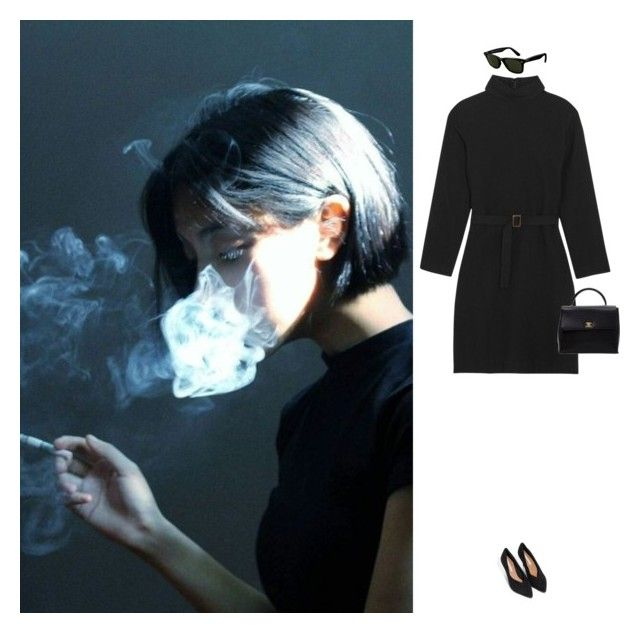 """""""Dark"""" by laurenmarron ❤ liked on Polyvore featuring A.P.C., Ray-Ban and Chanel"""