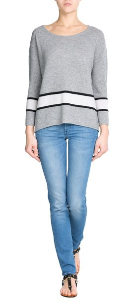 In pale grey with a single white stripe and subtle black trim, Dear Cashmere keeps this pullover simple but stylish. Bracelet length sleeves leave room for delicate accessories #Stylebop