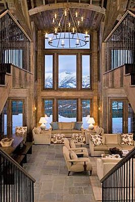 Adore mountain homesCabin, Living Rooms, Dreams Home, The View, Dreams House, High Ceilings, Windows, Mountain Houses, Mountain Homes