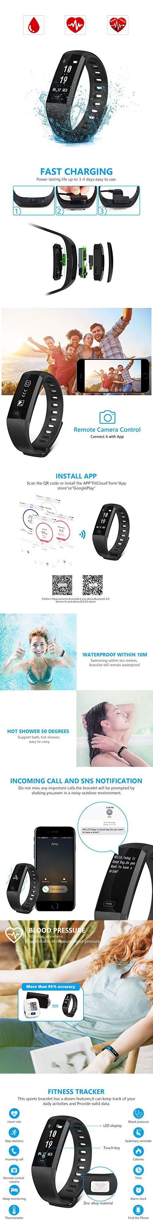 SAVFY Fitness Tracker, Blood Pressure & Oxygen Monitor Heart Rate Monitor IP67 Waterproof Activity Wristband for Android IOS
