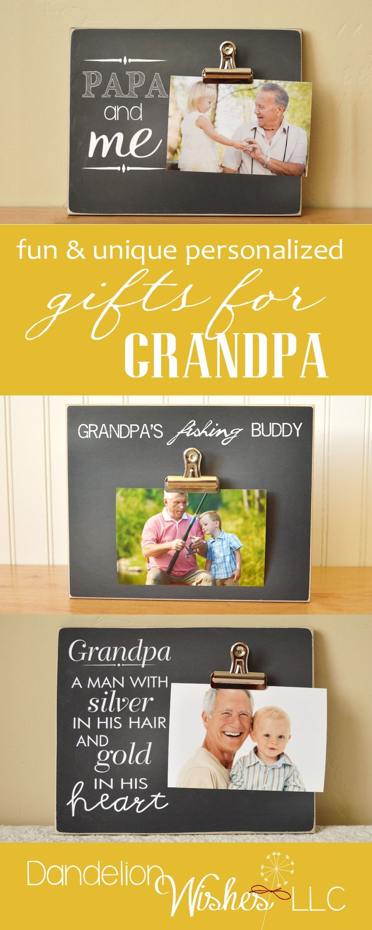 Fun, personalized Father's Day gifts for Grandpa. Give a gift that will make his heart melt!   by Dandelion Wishes