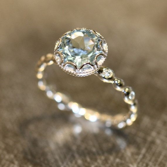 Floral Aquamarine Engagement Ring in 14k White Gold Diamond Pebble Ring 8x8mm Oval Natural Aquamarine Ring (Bridal Set Available) on Etsy, $758.00