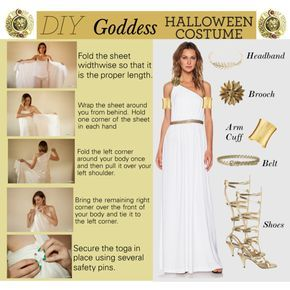 DIY Halloween Costume by rmhodgdon on Polyvore featuring Rachel Zoe, Vintage, Stephanie Kantis, Sarah Coventry, Wet Seal, goddess, Costume, toga, GreekGoddess and diycostume