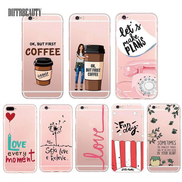 Marque de luxe Bove Sweety Mots Café Amour Amor Souple Crystal Clear téléphone Case Couverture Pour Apple iPhone 6 7 5S 6 Plus Coque Fundas