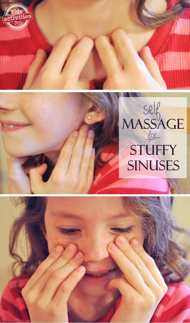 This massage technique actually gets rid of a stuffy nose... it'll come back, but at least you can breathe for a few min!