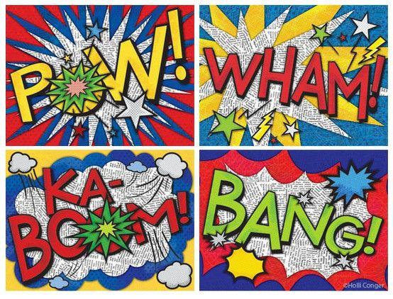 Dans le cadre de notre projet cinéma, croisement avec l'art plastique et la musique: les bruits qui font rire, stripsody illustrée. Onomatopées illustrées par mes élèves à partir des exemples trouvés sur le net ( cf ci dessus )  Christellemars