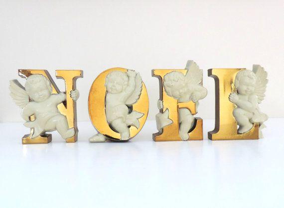 Vintage Angelic Cherubs NOEL Gold Plastic Letters 2866
