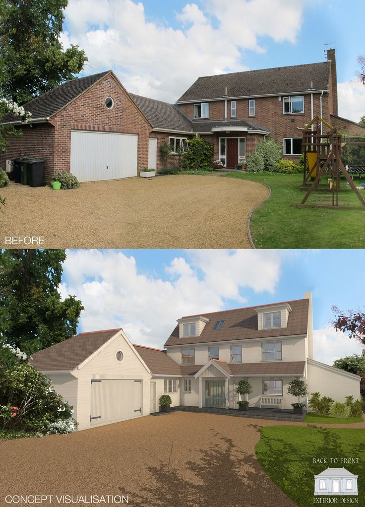 Remodelled family home in Cambridge. The exterior has been completely transformed with a whole house facelift. By Back to Front Exterior Design