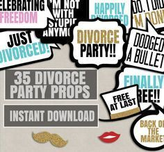 35 Divorce Party Printable props, divorce ceremony decor, just divorced party photobooth props, instant download, celebrating divorce party by YouGrewPrintables on Etsy