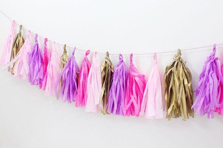 DIY Party Girlande aus Seidenpapier selber machen + Schreibtisch-Makeover - Madmoisell DIY Blog über Deko, Mode und Wohnen