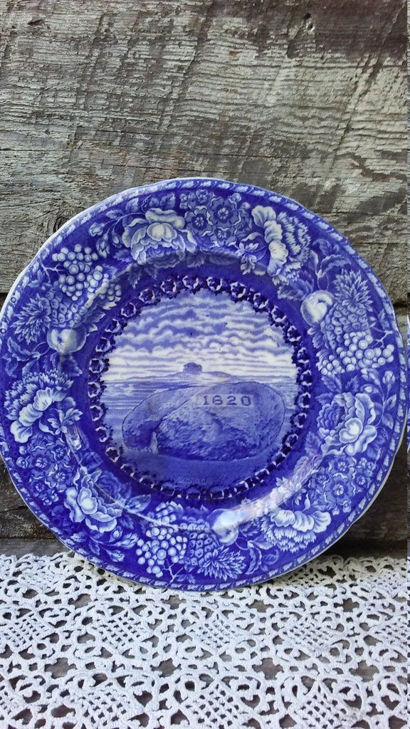 Antique Blue Dinner Plate, Historical Plymounth Mass