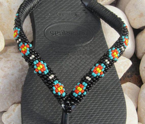 BOHO Multi gekleurde kralen ingericht handgemaakte zwarte Havaianas sandalen slippers slippers plat thong schoenen